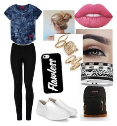 """""""School"""" by siermiller on Polyvore featuring Wolford, JanSport, Lime Crime, Topshop and NIKE"""