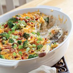 Forget the long process of baking and stuffing individual potatoes. By using refrigerated mashed potatoes and assembling everything in a baking dish, you can cut the prep time immensely. Rotisserie chicken and broccoli were added to make this potato casserole a complete meal.
