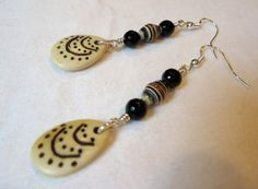 Recycled Paper Agate and Bone Earrings by SassafrasBeadWorks
