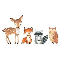 Woodland thema schattig schepsel muur Decal door W - Animals Canvas Wall Art - Ideas of Animals Canvas Wall Art Woodland Theme, Woodland Baby, Woodland Nursery, Woodland Animals, Woodland Creatures Nursery, Cute Drawings, Animal Drawings, Scrapbooking Image, Fuchs Illustration