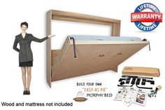 Murphy Wall Bed Horizontal Style Hardware DIY Kit for Queen Double and Twin #EasyDIYMurphyBed #Contemporary