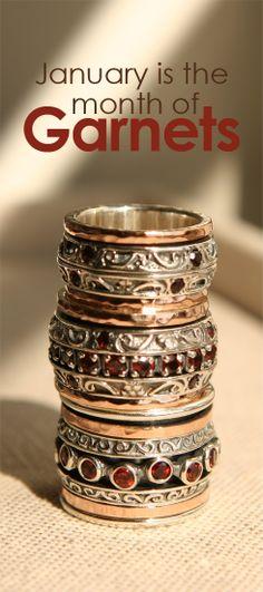 January Birthstone: Garnets Jewelry | David Tishbi | Sterling Silver, 14K Rose Gold Garnets | Rings