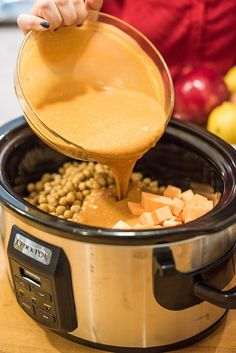 This protein-packed slow cooker vegetarian curry recipe is made with chickpeas and sweet potatoes cooked in a rich and creamy Indian-spiced sauce. - New Site Slow Cooker Vegetarian Curry, Slow Cooker Vegetable Curry, Vegetarian Chickpea Curry, Curry Recipes, Vegetarian Recipes, Paleo Food, Food Food, Sweet Potato Curry, Healthy Vegetarian Recipes