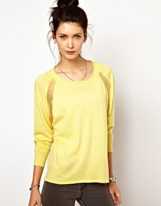 2nd Day Relaxed Fit Jumper with Sheer Inserts at Raglan