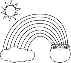 Rainbow Pot Of Gold Sun And Cloud coloring pages printable and coloring book to print for free. Find more coloring pages online for kids and adults of Rainbow Pot Of Gold Sun And Cloud coloring pages to print. Preschool Coloring Pages, Fairy Coloring Pages, Online Coloring Pages, Cartoon Coloring Pages, Coloring Pages To Print, Printable Coloring Pages, Coloring Pages For Kids, Coloring Books, Image Arc En Ciel