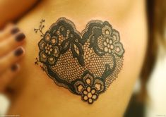 Heart lace tattoo. I want this one for sure! Prob on my stomach tho!