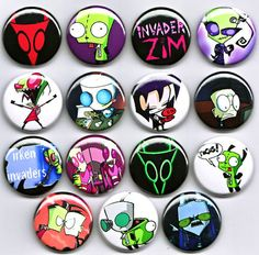 "INVADER ZIM 1"" Badges X15 - Gir Dib Gaz cartton tv punk rockabilly roller derby 