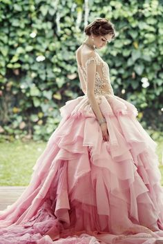 And the bride wore PINK! // Pink Wedding Gown by Dominique Nadine Beautiful Gowns, Beautiful Outfits, Gorgeous Dress, Bridal Gowns, Wedding Gowns, Tulle Wedding, Spring Wedding, Wedding Bride, Ombre Gown