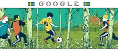 World Cup Doodle - Day 5 - Sweden World Cup 2018, Fifa World Cup, Holiday Logo, Eric Thomas, Google Doodles, Teachers' Day, Logo Google, Soccer, Sketches