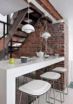 Perfect Modern home bar furniture The post Modern home bar furniture… appeared first on Decor Magazine . Brick Wall Kitchen, Kitchen Dining, Dining Room, Dining Area, Loft Kitchen, Nice Kitchen, Bar Kitchen, Kitchen Wood, Awesome Kitchen