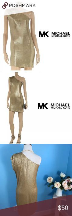 """MICHAEL Michael Kors Gold Sequined Dress Small MICHAEL Michael Kors  Gold Sequined One Shoulder Dress  Metallic  Size Small  Excellent used condition; no flaws. Has been dry cleaned. Measurements taken flat: armpit to armpit: 18"""" waist: 16.5"""" hips: 19"""" length: 35"""" MICHAEL Michael Kors Dresses Mini"""