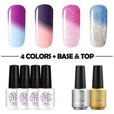 Sexy Mix Gel Nail Polish Colors Sets Color Changing Nail Polish Top Coat Base Coat Gel (6Pcs) -- Click image for more details.
