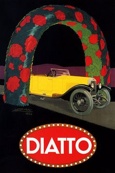 vintage Diatto automobiles advertising poster