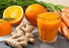 """Carrot Orange Ginger Juice - Juice And Smoothie Recipes. Carrot Orange Ginger Juice - Deliciously tasty, refreshing and healthy. The small piece of fresh ginger adds a wonderful little """"zing"""". Healthy Juice Recipes, Healthy Juices, Healthy Drinks, Smoothie Recipes, Detox Recipes, Ginger Juice, Carrot And Ginger, Fresh Ginger, Orange Juice"""