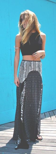 summer outfits crop top maxi skirt