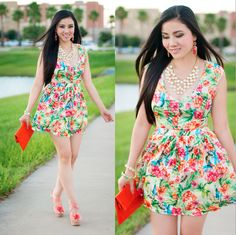 Floral Skater Dress with Side Cut Outs http://www.lynnegabriel.com/?p=22114