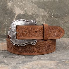 Tony Lama Brown Layla Belt- Ladies' brown floral tooled western top grain leather belt MADE IN USA