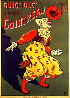 1907 Eugène Ogé Guignolet Cointreau d'Angers, Affiche lith. en couleurs,