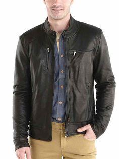 Men Leather Jacket Stylish Slim fit Soft Lambskin Bomber Biker Jacket - 014