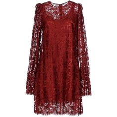 Dolce & Gabbana Short Dress ($1,022) ❤ liked on Polyvore featuring dresses, maroon, short dresses, maroon lace dress, red long sleeve dress, mini dress and short lace dress