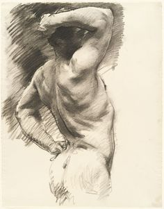 Gorgeous tones makes me miss figure drawing John Singer Sargent, Male Nude Seen from Behind, Arm Raised Over Head Life Drawing, Drawing Sketches, Drawing Poses, Pencil Drawings, Sketching, Art Drawings, Figure Painting, Painting & Drawing, Beaux Arts Paris