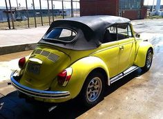 VERY RETRO! 1972 YELLOW VOLKSWAGEN VW CONVERTIBLE BUG w/PORSCHE ALLOYS & NEW GOOD YEAR TIRES