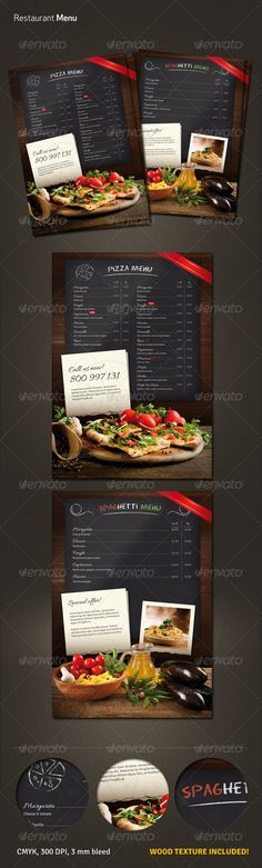Restaurant Menu Flyer  #GraphicRiver         Elegant A4 (297×210) restaurant (pizza, spaghetti) menu.    2 layouts – pizza or spaghetti menu  wood texture included  print ready  CMYK, 300 dpi  3 mm bleed  free fonts used: Eraser, Allura, Signika  	 Photos and font are NOT included (links provided in the help file)     Created: 6November13 GraphicsFilesIncluded: PhotoshopPSD Layered: Yes MinimumAdobeCSVersion: CS3 PrintDimensions: 210x297