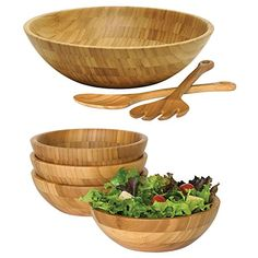 Set of Wooden Bamboo salad bowls, with serving hands and serving bowls, Includes Set of 4 Small Bamboo Bowls, and Bamboo Salad Bowl with Salad Servers - Best for the bamboo salad bowl lovers