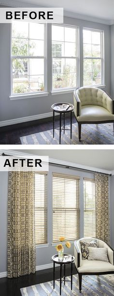 Amazing transformations start with a few simple touches. Updated windows and accessories add color and depth. Sunroom Windows, Drapery, Curtains, Smith And Noble, Amazing Transformations, Window Treatments, Blinds, Innovation, New Homes
