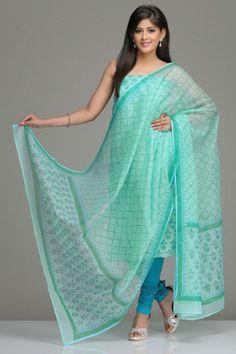 Sea Green Unstitched Kota Kurta & Dupatta Set With Green & Blue Floral Motif Hand Block Print