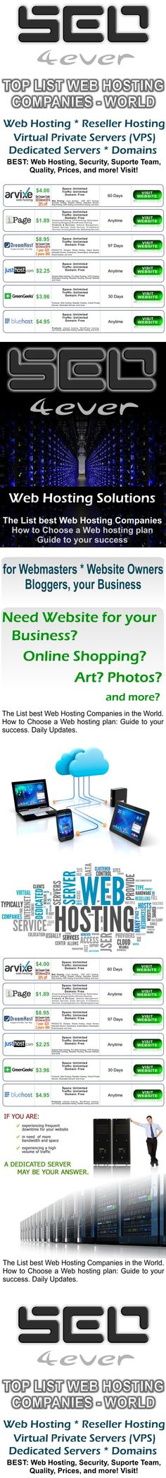 The List best Web Hosting Companies in the World. How to Choose a Web hosting plan: Guide to your success. Daily Updates. CLICK HERE: http://www.listbestautosurfexchange.com/listbestwebhosting.html * * * * #WebHosting #Hosting #DedicatedServers #webmaster #SEO #BestHosting #websites #business #WebDesign