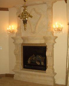 Commissioned limestone mantelpiece:   The Salzburg