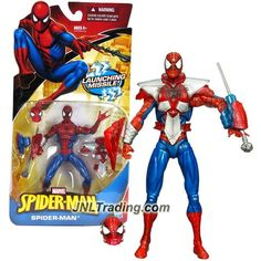 Hasbro Year 2010 Marvel SpiderMan Series 6 Inch Tall Action Figure : SPIDER-MAN with Battle Armor and Web Launcher with 1 Web Missile