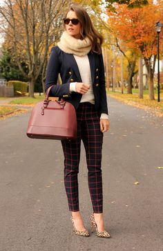 Window- pane print pants, ivory sweater, navy blazer, leopard print pumps, fur or infinity scarf