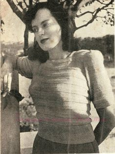 The   Vintage   Pattern   Files: 1940's Knitting -  An Interesting Grey Woollen Jum...