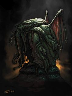 """It's well known that the great Cthulhu has a particular bond with artists of all sorts. Lovecraft's """"The Call of Cthulhu"""" it's docu. Lovecraft Cthulhu, Hp Lovecraft, Arte Horror, Horror Art, Yog Sothoth, Call Of Cthulhu Rpg, Lovecraftian Horror, Eldritch Horror, Illustrations"""