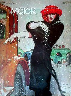 1921 Motor Magazine Illustration by Ruth Eastman Art Vintage, Vintage Ads, Vintage Prints, Vintage Posters, Magazine Illustration, Art Et Illustration, Norman Rockwell, Magazin Covers, Retro Mode