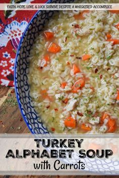 Turkey Alphabet Soup with Carrots - The next time you have turkey, make sure to boil down the bones for broth or stock. Once you've done that, you can make a delicious one-pot turkey alphabet soup with the broth or stock. Add a few seasonings, spices, and carrots, and you'll have a pot of soup that's both comforting and flavorful.