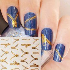 1pc Fashion Zip Fastener Zipper Nail Art Stic...