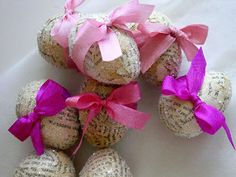 Easter eggs with old pages, glitter and ribbon :)