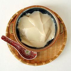 Tau Foo Fah...a Chinese dessert made with very soft tofu eaten with a clear sweet syrup infused with ginger or pandan