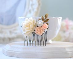 Bridal Comb, Peach Wedding Hair Comb, Ivory Peony Peach Salmon Pink Rose Flower Antiqued Gold Leaf Branch Pearl Hair Comb, Bridesmaid Gift by LeChaim on Etsy https://www.etsy.com/listing/152878267/bridal-comb-peach-wedding-hair-comb
