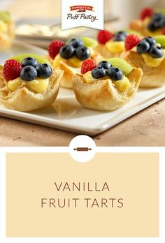Pepperidge Farm Puff Pastry Vanilla Fruit Tarts Recipe. Perfectly red, white and blue, these make a wonderful Memorial Day dessert. These little tarts are refreshing and versatile. Puff Pastry is filled with vanilla pudding and topped with seasonal berries and fruit. Bake a batch (or two) for your next barbecue!