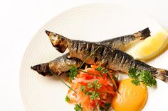 grilled sardine recipe from Nathan Outlaw, Britain's best Seafood and Fish chef - this quintessentially Nathan dish comes with a paprika mayonnaise Grilled Trout, Grilled Sardines, Grilled Fish Recipes, Trout Recipes, Seafood Recipes, Meal Recipes, Omega 3, Cherry Tomato Salsa, Sardine Recipes