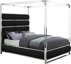 Transform your bedroom into a luxurious place to retired in the evenings with this elegant Encore canopy bed. Smooth faux leather upholstery along with acrylic and chrome canopy form a stunning bed that& truly fit for royalty. The tall headboard . King Beds, Queen Beds, Platform Canopy Bed, Canopy Beds, Queen Size Canopy Bed, Black Queen Bed, Leather Bed, Real Leather, King Storage Bed