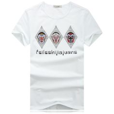 Fabric Material:   95% Cotton + 5% Lycra   Lining Material: Cotton   Closure Type:   Standard  Collar: Round Neck Fit Type: Regular  Decoration:  Peking Opera Mask Pattern  Thickness:   Standard    Color: White   Occasion:   Casual, Fashion   Season:   Spring, Summer   Tag Size: L, XL, 2XL, 3XL, 4XL    Package included:   1*T-shirt       Please Note:                1.Please see the Size Reference to find the correct size.