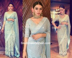 For the promotions of her upcoming movie Gulebagavali, actress Hansika Motwani looked gorgeous in an embroidered icy blue saree from Jade by Monica and Karishma. Wedding Dresses Men Indian, Indian Bridal Fashion, Indian Attire, Indian Outfits, Indian Engagement Outfit, Wedding Lehenga Designs, India Fashion, Tokyo Fashion, Street Fashion