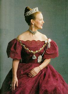 Margrethe Alexandrine Þórhildur Ingrid, theQueen regnantof theKingdom of Denmark. In 1972 she became the first female monarch of Denmark sinceMargrete I, ruler of theScandinavian countriesin 1388-1412 during theKalmar Union. She was born atAmalienborg Palace, toCrown Prince FrederikandCrown Princess Ingrid in 1940.