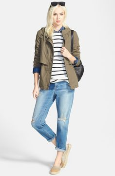 Hinge Hooded Jacket, Treasure&Bond Stripe Tunic & Denim Shirt