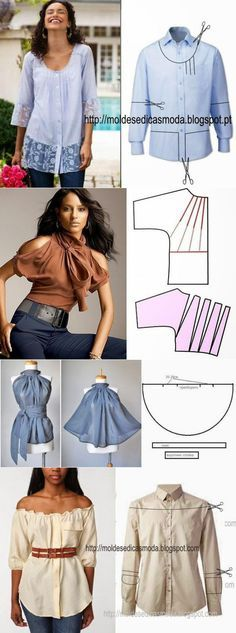 New Sewing Clothes Refashion Remake Blouses 41 Ideas - Bricolage Kleidung Upcycle Diy Clothing, Sewing Clothes, Clothing Patterns, Dress Patterns, Sewing Patterns, Dress Sewing, Fashion Patterns, Shirt Refashion, Diy Shirt